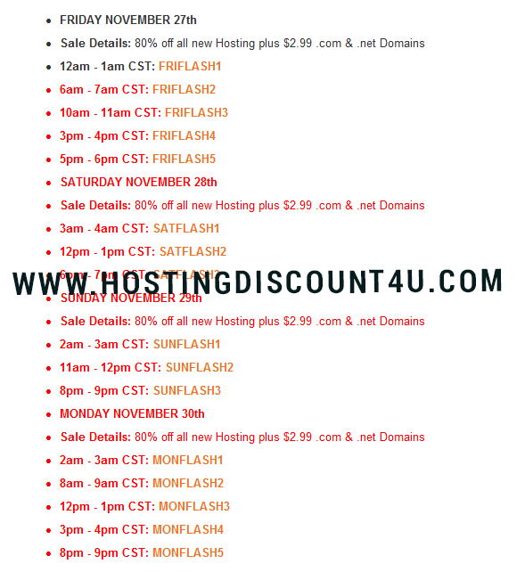 hostgator blackfriday firesale timings