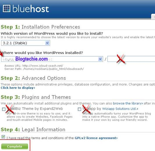 steps to install WordPress Bluehost
