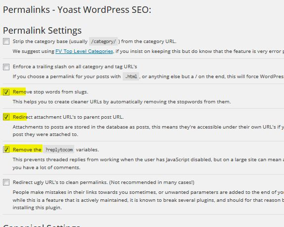 wordpress permalink seo settings